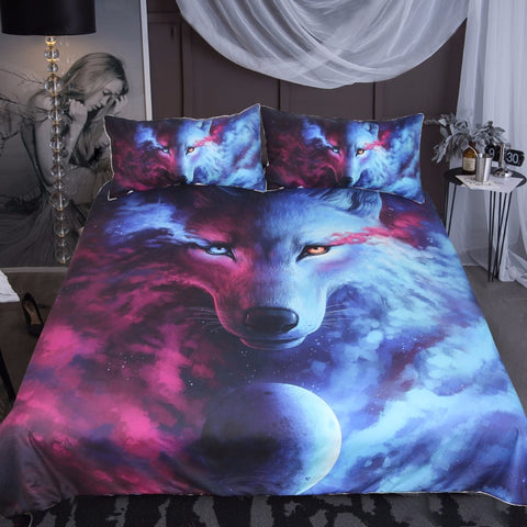 Were Light and Dark Meet Wolf Bed Set - Clearance