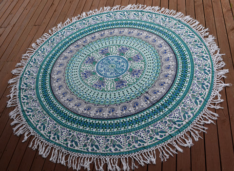 Round Mandala - Green Bird of Paradise - M1