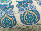Floor Cushion Covers - Gold & Blue Peacock Mandala - FC9