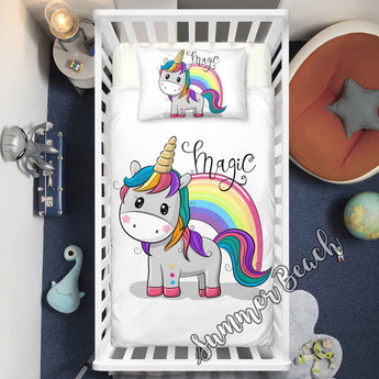 Magic Unicorn Cotton Cot Doona Cover Bed Set