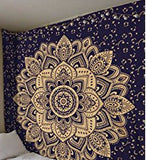 Square Mandala - Navy Blue & Gold Flower - SQM12