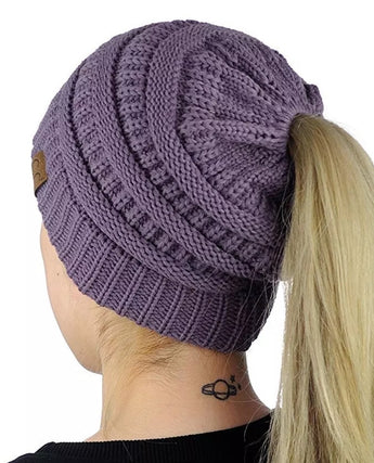 Purple Ponytail / Messy Bun Beanie