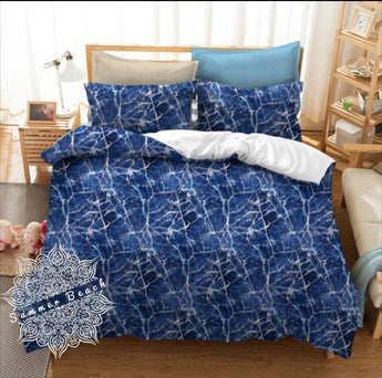 Blue Marble Bed Set