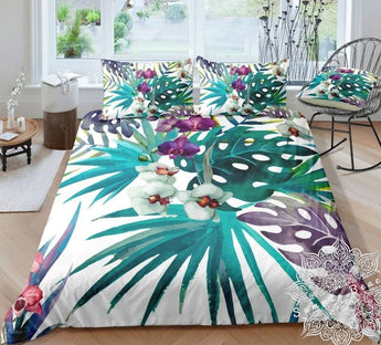 Purple & White Orchid Tropical Cot Doona Cover Bed Set