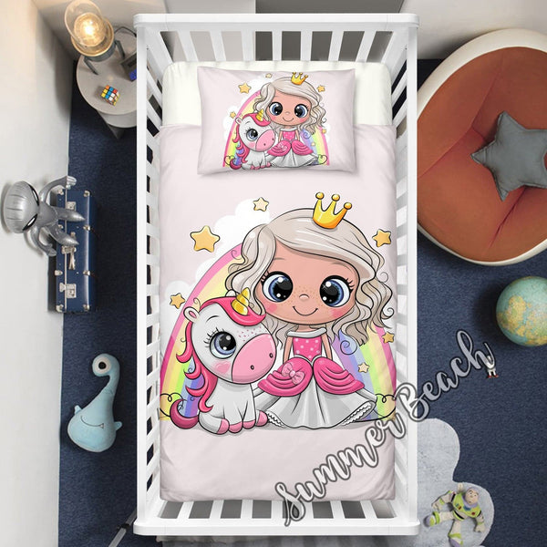 Little Unicorn Princess Cot Doona Cover Bed Set