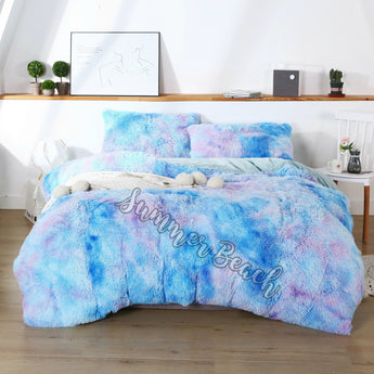 Plush Fluffy Purple and Blue Bed Set - MADE TO ORDER