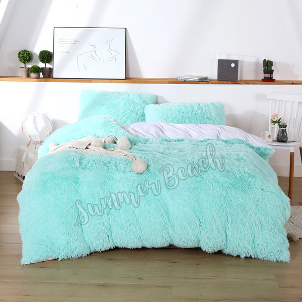 Plush Fluffy Mint Green Bed Set - MADE TO ORDER
