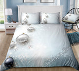 Christmas Silver Baubles Bed Set - New
