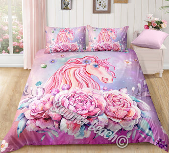 Princess Aurora Unicorn Pink Bed Set