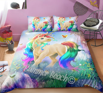 Princess Rainbow Unicorn Bed Set