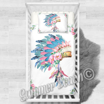 Indian Feathers Cotton Cot Bed Set