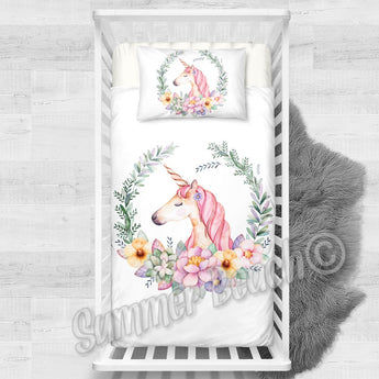 Princess Sophie Unicorn White Cotton Cot Bed Set
