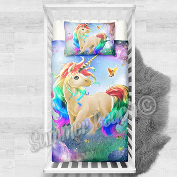 Princess Rainbow Unicorn Cotton Cot Bed Set