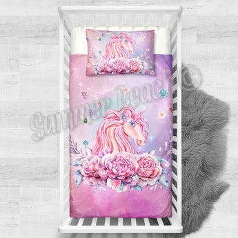 Princess Aurora Unicorn Cotton Cot Bed Set