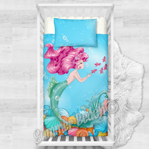 Mermaid Coral Cotton Cot Doona Cover Bed Se