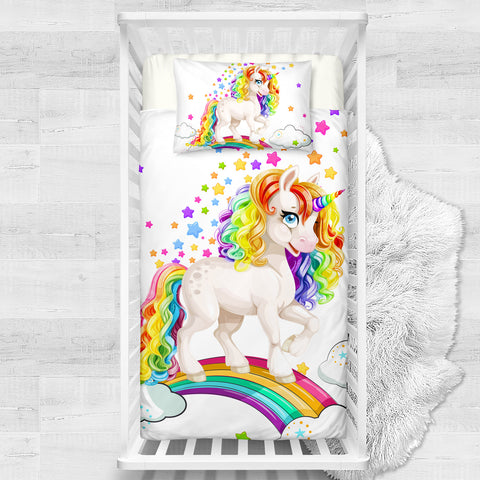 Rainbow Star Unicorn Cotton Cot Doona Cover Bed Set