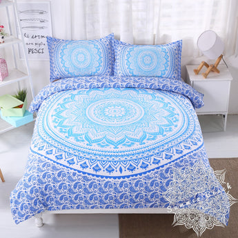 Blue Ombre' Mandala Bed Set