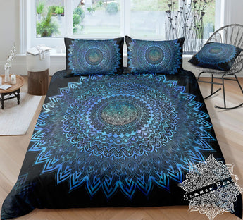 Electric Blue Ombre Mandala Bed Set