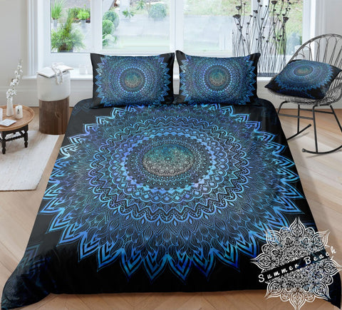 Electric Blue Ombre Mandala Bed Set - New Product