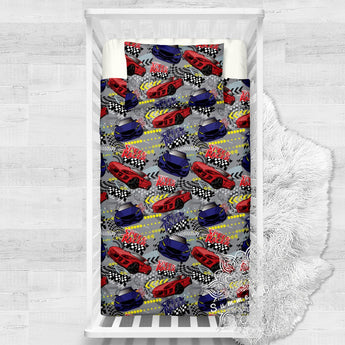 Speed Racer Cars Cotton Cot Doona Cover Bed Set