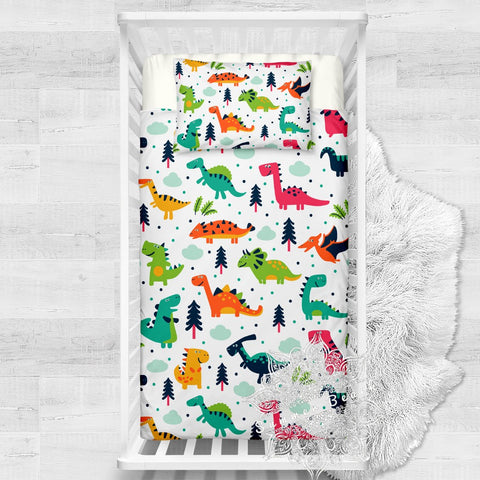 Colorful Dino Cotton Cot Doona Cover Bed Se