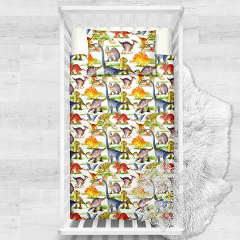 Stomping Dinosaurs Cotton Cot Doona Cover Bed Set
