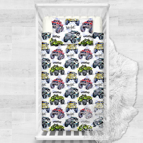 Creative Brave Trucks Cotton Cot Doona Cover Bed Set