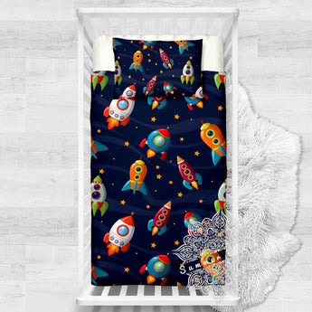 Rocket Ship Cotton Cot Doona Cover Bed Set