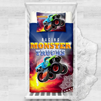 Monster Truck Cotton Cot Doona Cover Bed Set