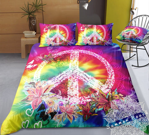Rainbow Tie Dye Peace Bed Set