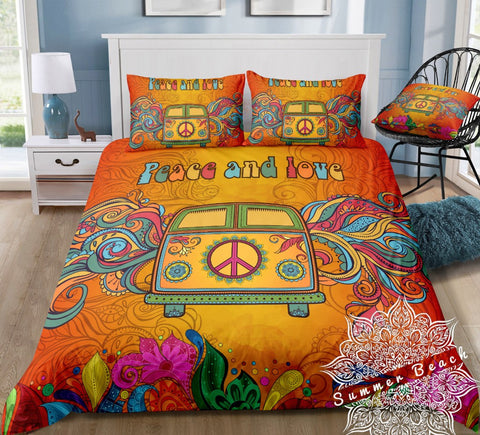 Peace & Love Orange Kombi Van Bed Set