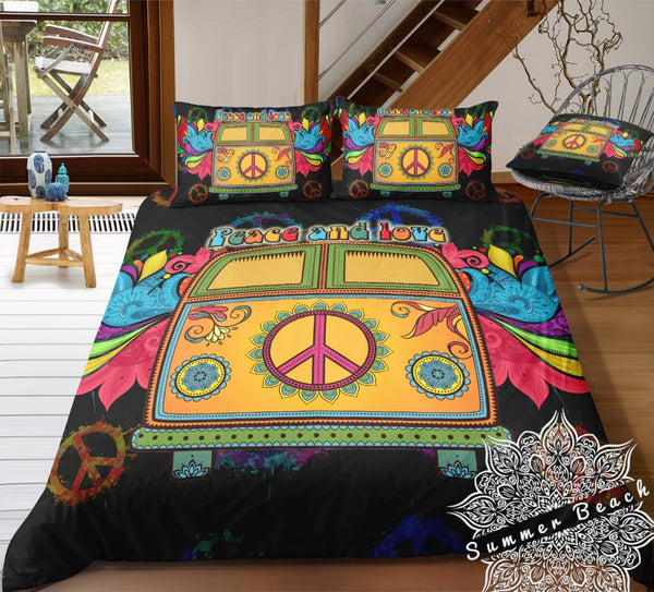 Peace & Love Black Kombi Van Bed Set