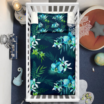 Tropical Orchards Dark Cot Doona Cover Bed Set - Made To Order - Cotton