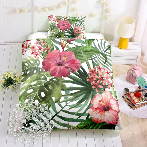 Tropical Hibiscus Cot Doona Cover Bed Set