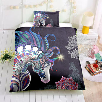 Unicorn Mandala (Black) Cotton Cot Doona Cover Bed Set
