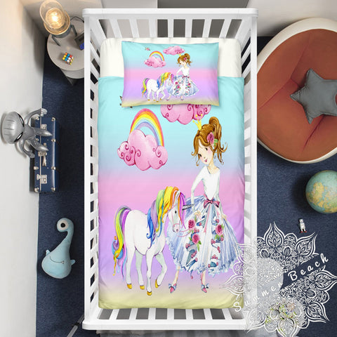 Princess Unicorn Cotton Cot Doona Cover Bed Set