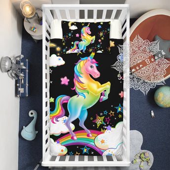 Rainbow Bright Unicorn Cotton Cot Doona Cover Bed Set