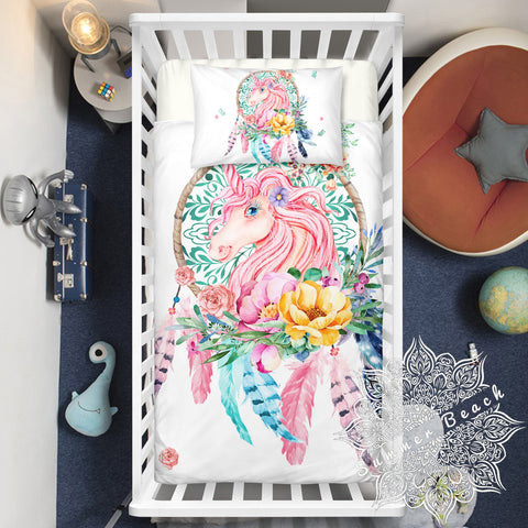 Dreamy Unicorn Cotton Cot Doona Cover Bed Set