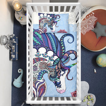 Unicorn Mandala (Blue) Cotton Cot Doona Cover Bed Se