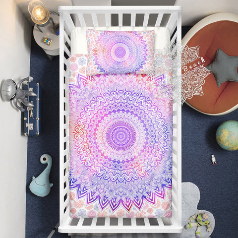 Pink sunrise Mandala Cotton Cot Doona Cover Bed Set