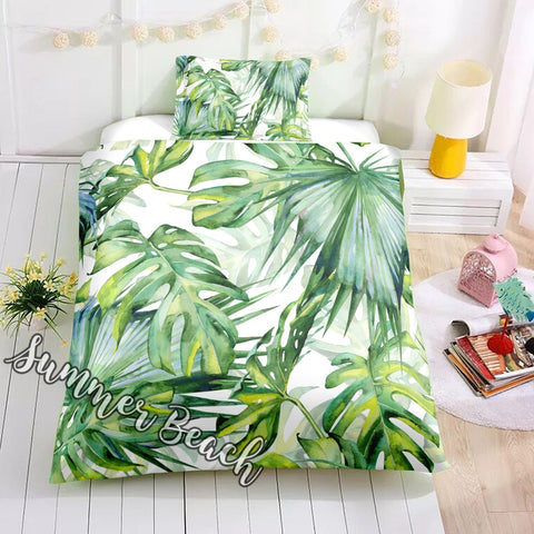 Tropical Summer Breeze Bed Set - White - New