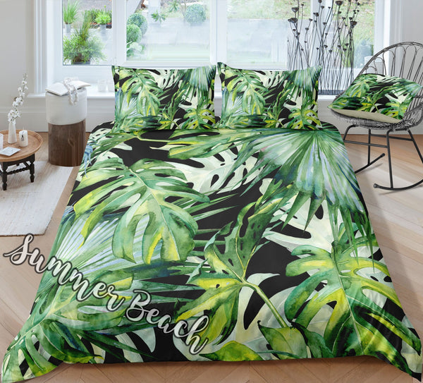 Tropical Summer Breeze Bed Set - Black - New