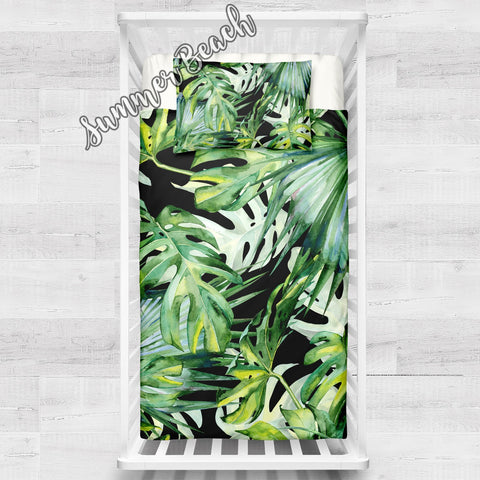 Tropical Summer Breeze Black Cot Doona Cover Bed Set