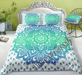 Mandala Flower Blue and Green Bed Set - New