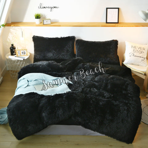 Plush Fluffy Black Bed Set - MADE TO ORDER