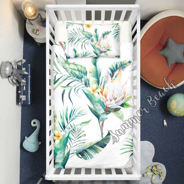 "Tropical Bouquet Cot Doona Cover Bed Set - ""Made To Order"" Will take 2 - 3 weeks to arrive - Cotton"