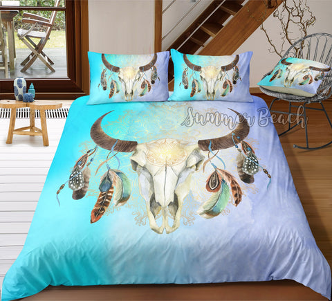 Skull Feather Blue Bed Set