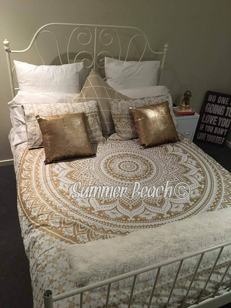 Square Mandala - White & Gold Ombre' - SQM16