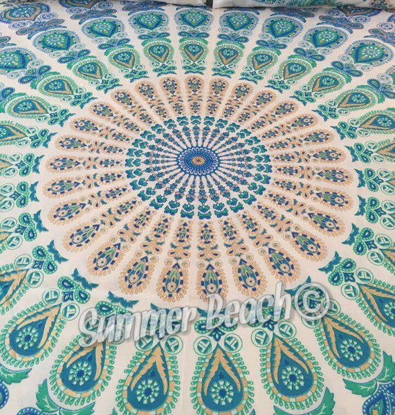 Square Mandala - Gold, White, Green & Blue Peacock - SQM13