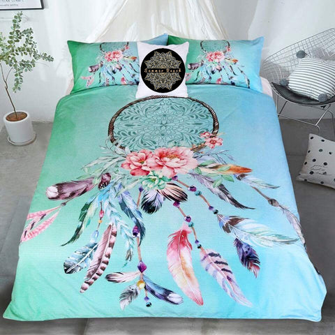Dream Catcher Feathers Green Bed Set